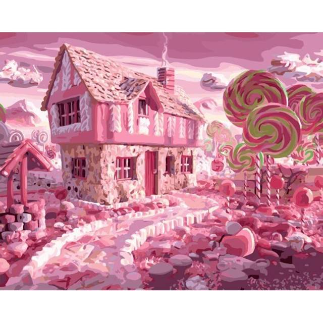 Pink Gingerbread House - Painting by Numbers Kit