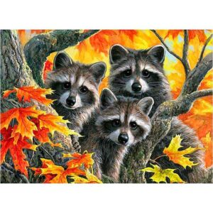 Raccoon Family - Forest Animals Paint by Numbers