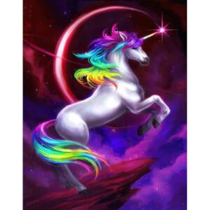 Rainbow Unicorn at Night - Paint by Numbers for Kids