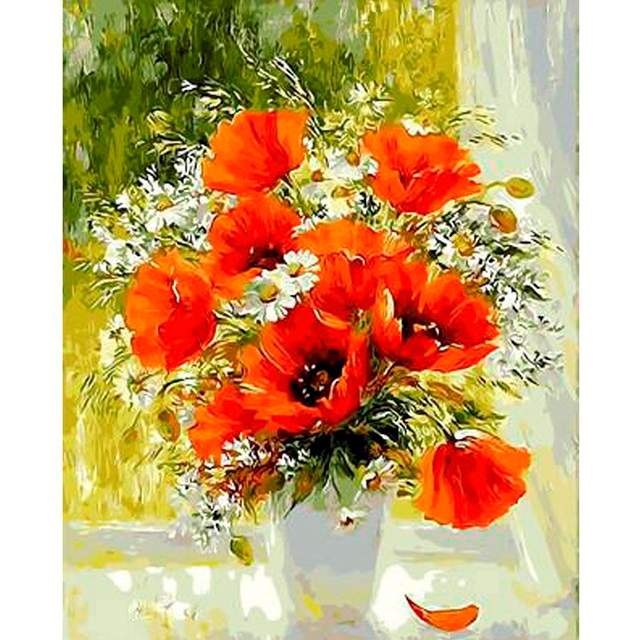 Red Poppies and Daisies in Vase - Window Flower Paint by Numbers