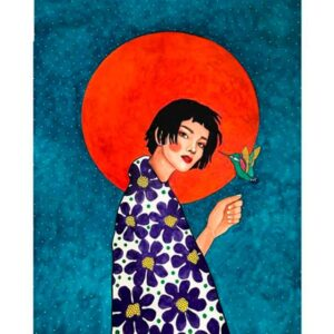 Red Sun Girl and Hummingbird - Paint by Numbers Kits