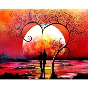Romantic Couple under Tree of Love - Paint by Numbers