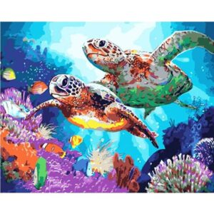 Sea Turtles on Coral Reef - Paint by Numbers