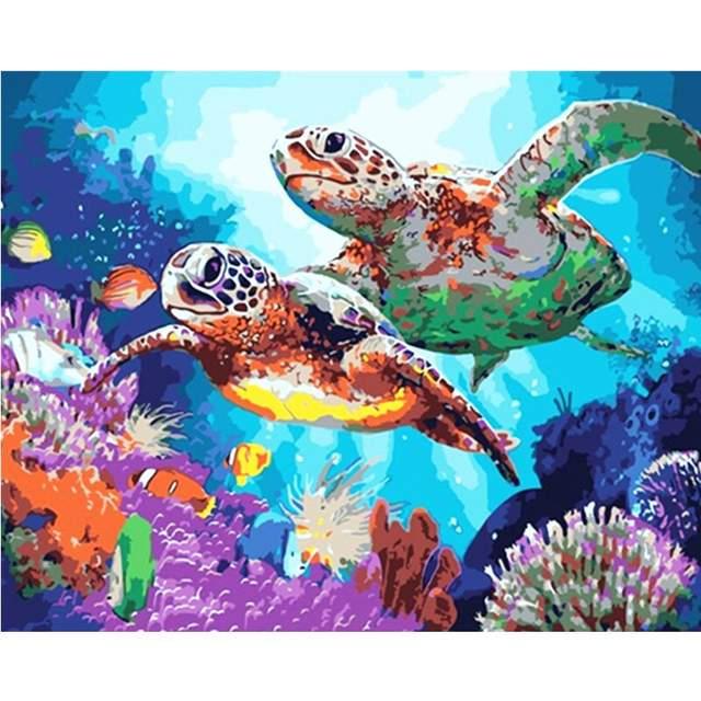 Sea Turtles on Coral Reef - Paint by Numbers