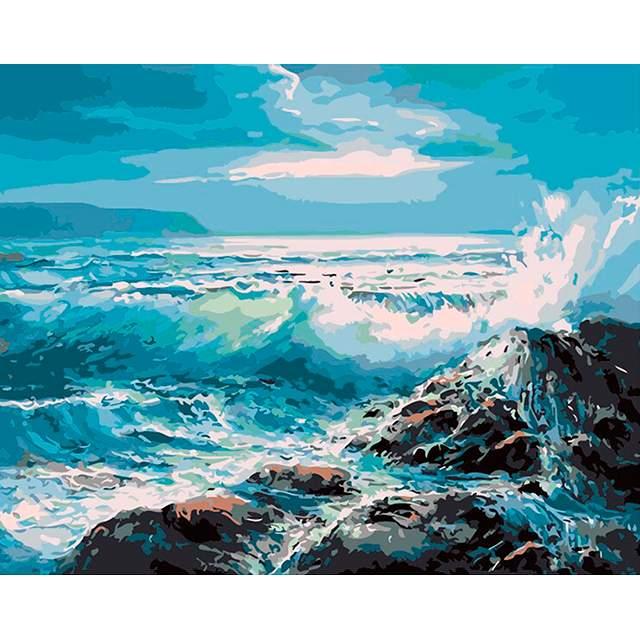 Sea Waves on Rocks - Seascape Paint by Numbers Kits