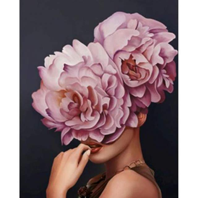Sexy Lady Pink Flower Head - Modern Art Paint by Numbers