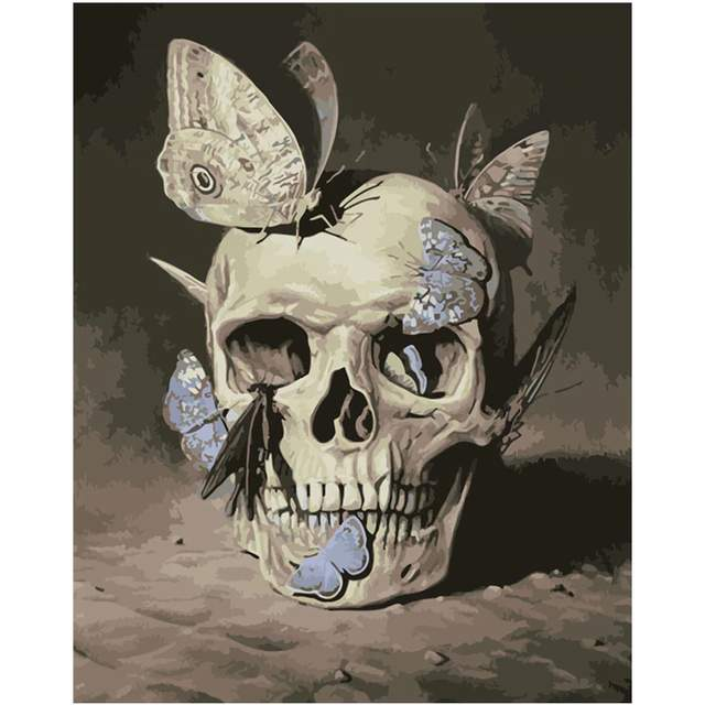 Skull and Butterflies - Halloween Paint by Numbers Kits