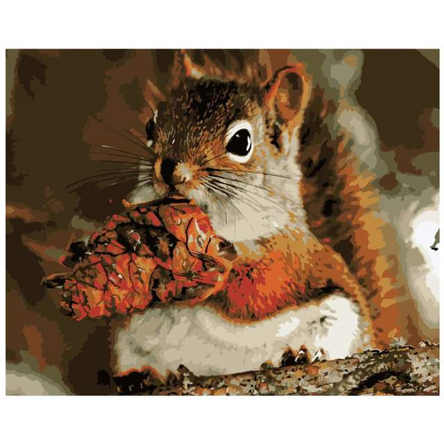 Squirrel and Cedar Cones - Forest Animals Paint by Numbers for Adults