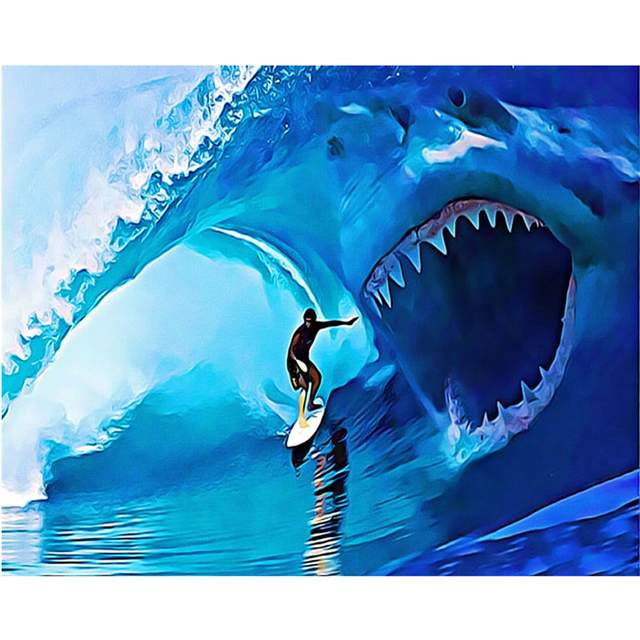 Surfing and Shark Wave - Ocean Paint by Numbers