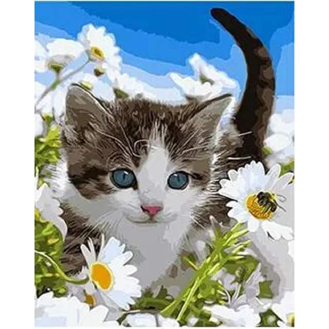 Sweet Kitty in Flowers - Paint by Numbers of Cats