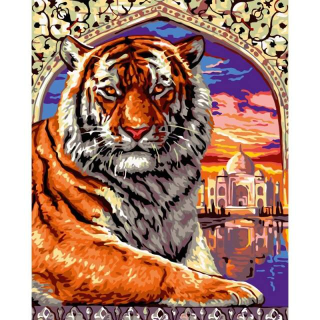 Taj Mahal Bengal Tiger - Coloring by Numbers Animals