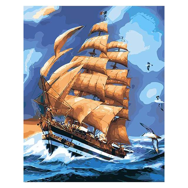 Tall Ship in a Fierce Sea - Sailing Boat Paint by Numbers Kit