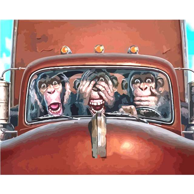 Three Funny Monkeys - Animals Paint by Numbers