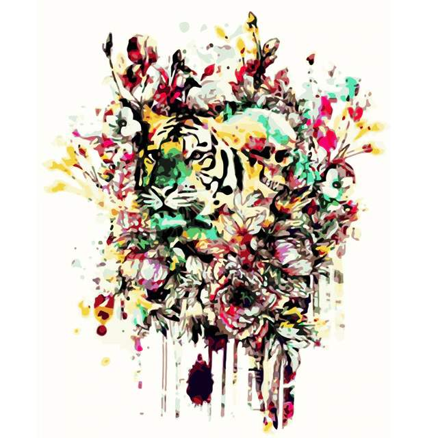 Tiger Flowers - Animals Portrait Paint by Numbers
