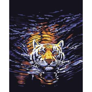 Tiger Swimming on River - Paint by Numbers for Adults