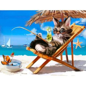 Vacation Cat - Paint by Numbers for Kids