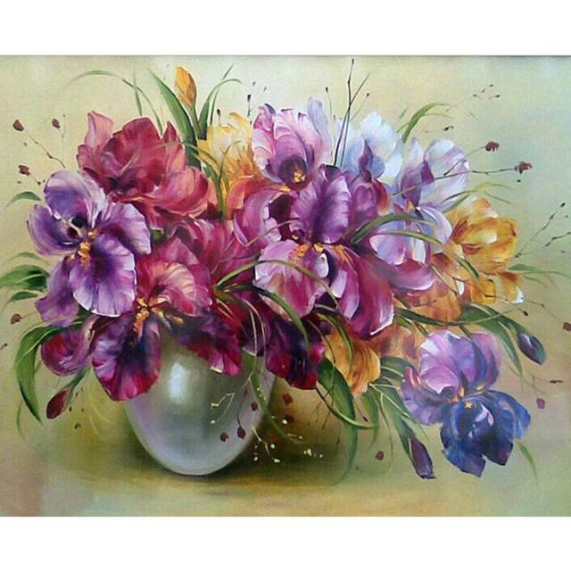 Vase with Irises - Flower Color by Numbers Kit