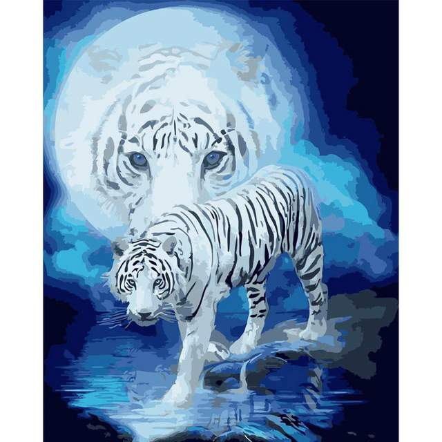 White Moon Tiger - Coloring by Numbers Animals