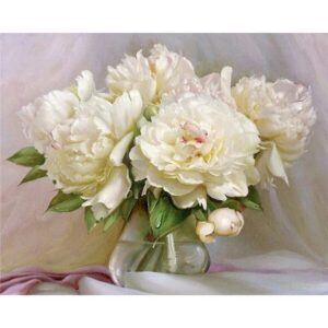 White Peonies - Flower Paint by Numbers Kit