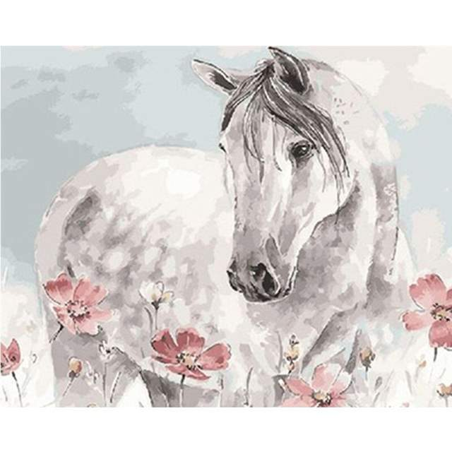 White Watercolor Horse - Paint by Numbers Animals
