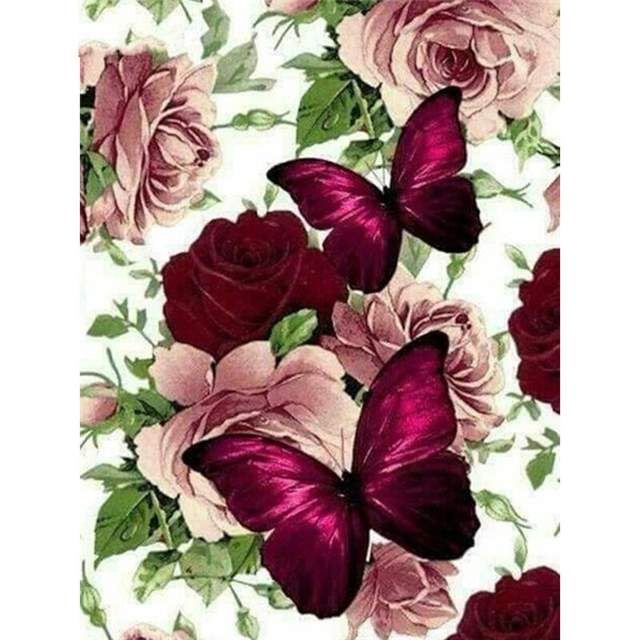 Wine Roses and Butterflies - Paint by Numbers Kits