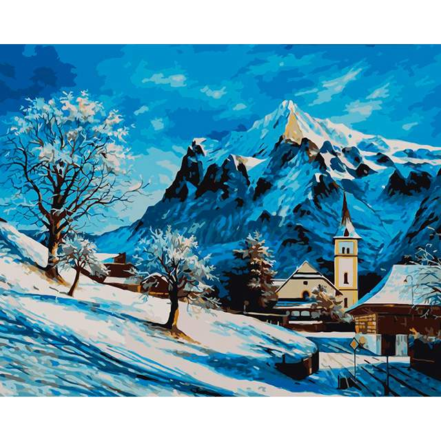 Winter in Tyrolean Alps - Landscape Paint by Numbers