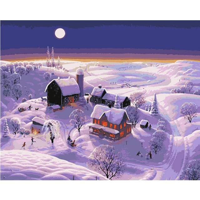 Winter on the Farm - Christmas Paint by Numbers