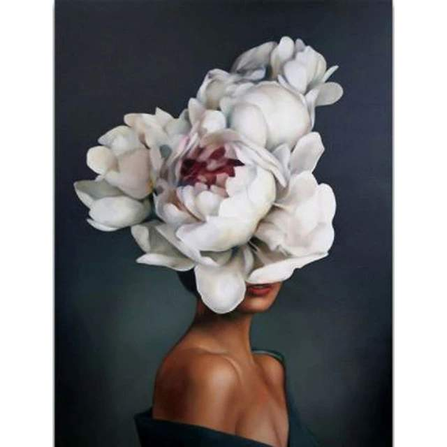 Woman White Flowers Face - Creative Paint by Numbers