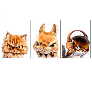 3 Different Angry Animals - Set of 3 Paint by Numbers