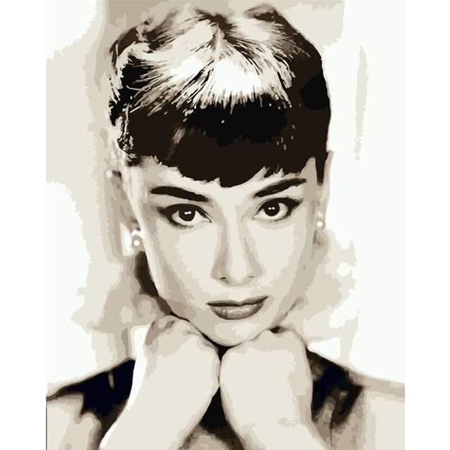Audrey Hepburn Portrait - Paint by Number Audrey Hepburn