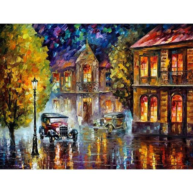 Classic Cars in Rainy City - Paint by Numbers Cityscape