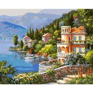 Coast of Lake Como - Paint by Numbers Italian Scene
