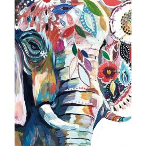 Colorful Flowers Elephant - Paint by Numbers Elephant