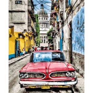 Cuba Paint by Numbers - Vintage Car on Street of Havana