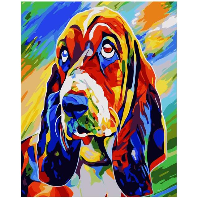 Dog Paint by Numbers - Basset Hound Colorful Dog