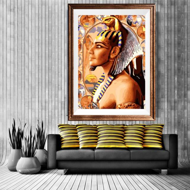 Egypt Pharaoh in Interior - Egyptian Paint by Numbers