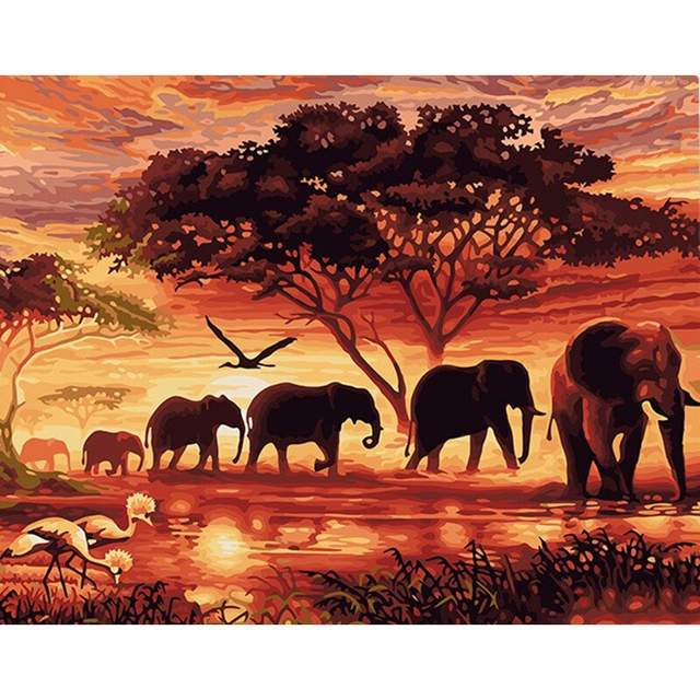 Elephant Family at Sunset - Paint by Number Elephants