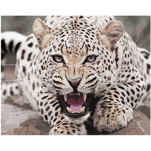 Growling Leopard - Paint by Numbers Leopard