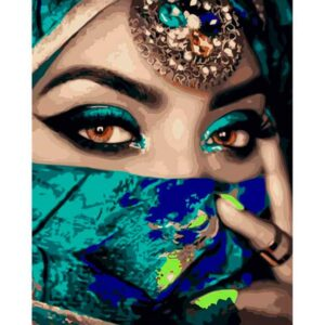 Indian Lady Wearing a Green Veil - Paint by Numbers Portrait