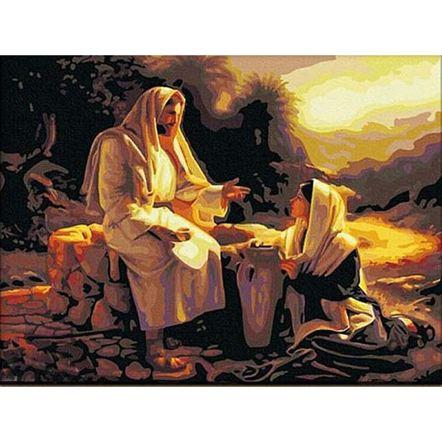 Jesus and Samaritan Woman at Well - Jesus Paint by Numbers