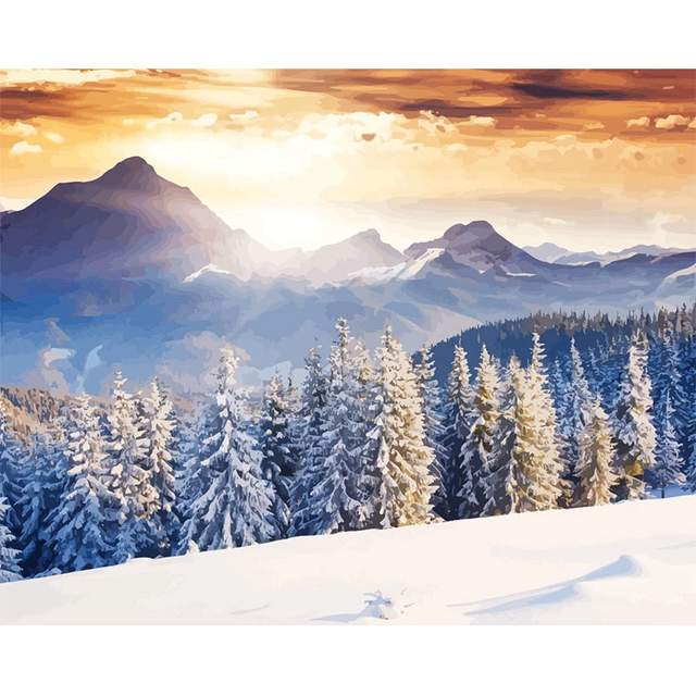 Landscape Paint by Numbers - Snowy Trees in Forest