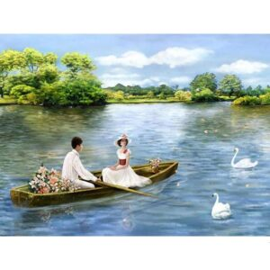 Love Couple on Romantic Boat Ride - Paint by Number Couples