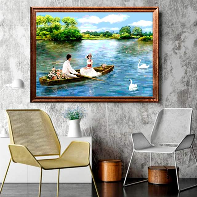 Love Couple on Romantic Boat Ride in Interior - Paint by Number Couples