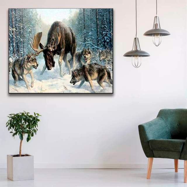 Moose vs Wolves in Interior - Paint by Numbers Wildlife