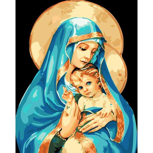 Mother of God with Child - Catholic Paint by Numbers