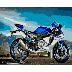 Motorcycle Paint by Numbers - Yamaha Blue Race Bike