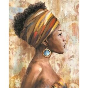 Paint by Number Kits Black Art - African American Lady in Blue Earrings