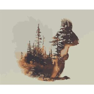 Squirrel Silhouette in Forest View - Paint by Numbers Squirrel