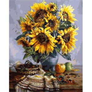 Sunflower Paint by Number - Fruits and Sunflowers in a Vase