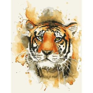 Tiger Paint by Number Kit - Watercolor Tiger Face